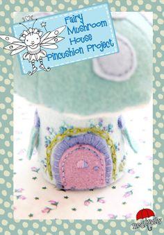 {d.i.y tutorial} Felt Fairy Mushroom house Pincushion project