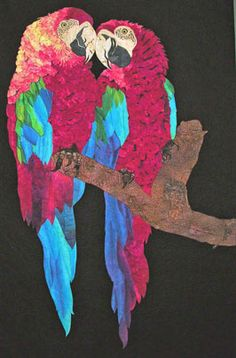 """""""Scoot over!"""" 54 x 88"""", art quilt by Nancy Sterett Martin: """"I think there are a thousand pieces sewn together for each parrot, or at least it seems that way..."""""""