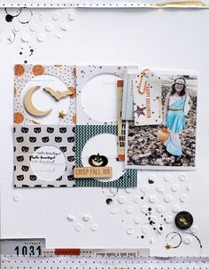 Scrapbook page. Inspiration. While I wouldn't do a Halloween LO, I like the idea of punching circles out of squares and placing photos or embellishments or journaling inside.