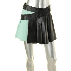 Catherine Malandrino 3224 Womens Green Leather Ponte Wrap Skirt 4 BHFO in Clothing, Shoes & Accessories, Women's Clothing, Skirts | eBay