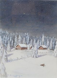'The Tomte and the Fox' by Astrid Lindgren. Painting by Harald Wiberg 1926. Lovely Winterscape with Fox