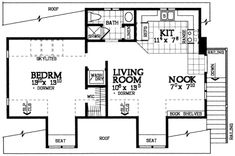 Traditional Style House Plan - 1 Beds 1 Baths 690 Sq/Ft Plan #72-285 Floor Plan - Upper Floor Plan - Houseplans.com