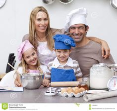 mom and kids baking pics   ... Free Stock Photography: Parents helping children baking in the kitchen