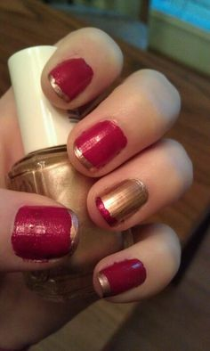 The month of love. Red glitter with rose gold accents.