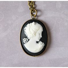 Black Lady Cameo Necklace Victorian Woman Cameo Necklace Antique Brass... (€26) ❤ liked on Polyvore featuring jewelry