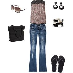Jeans and Flip Flops, created by tamara-white-chase on Polyvore