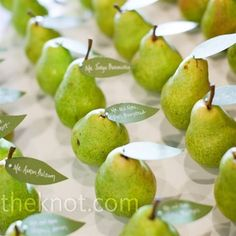 Lime Wedding Color Palate | Fresh pears perfectly matched the color palette. Michelle cut green ...