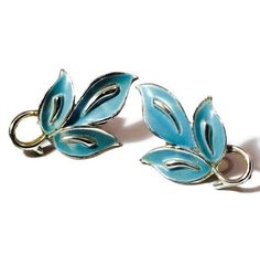 New to VintageVybe on Etsy: Coro Silver Earrings Blue Leaf (26.00 USD)