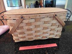 Vintage Picnic basket wooden X-large 2 handles hinged top apx x x Vintage Picnic Basket, Tins, Tin Cans