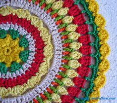 Rising sun crochet mandala