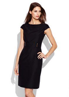 TAHARI ARTHUR S. LEVINE Black Cap Sleeve Buckle Detail Dress