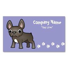 Cartoon French Bulldog (blue) Business Cards