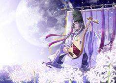 月影と琵琶の音, illustrated by mendou-kazuki (http://mendou-kazuki.blogspot.jp/)  A man dressed in kariginu.