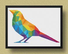 Geometric Bird Cross Stitch Pattern, Geometric Animal Xstitch, Embroidery Download, Cross Stitch Chart, Modern Cross Stitch, Color, Animal