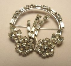 Vintage Signed Phyllis Sterling Silver Clear Rhinestone Pin Brooch MUST SEE~!