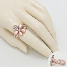 Crystal Pearl Flower Stretch Ring 228722