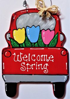 WELCOME SPRING Vintage Style TRUCK Sign Wall Door Hanger Hanging Wall Art Plaque Tulips Handcrafted Hand Painted Country Wood Craft Country Wood Crafts, Wooden Crafts, Diy Craft Projects, Diy Crafts, Woodworking For Kids, Woodworking Crafts, Intarsia Woodworking, Woodworking Basics, Woodworking Joints