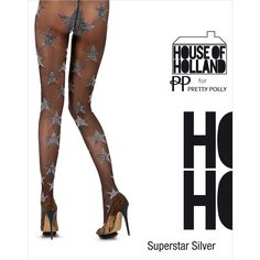 House of Holland for Pretty Polly   Superstar Silver Lurex Tights