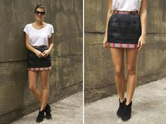 CF x A Pair & a Spare Tutorial: DIY Printed Trim Mini Skirt