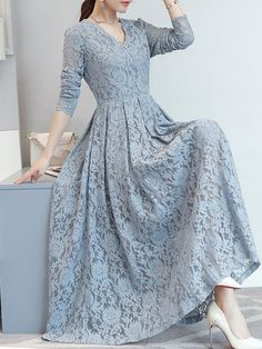 Lace Hollow Out Solid Color A-Line Dresses Dress Brukat, Hijab Dress Party, Hijab Style Dress, Lace Dress, Lace Maxi, Simple Dresses, Elegant Dresses, Beautiful Dresses, Casual Dresses