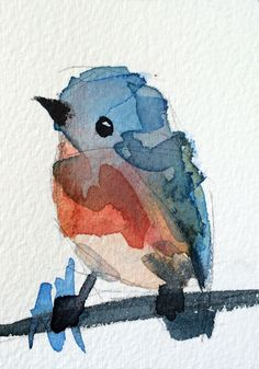 Bluebird no. 66 original bird watercolor painting Angela Moulton ACEO Art #Impressionism