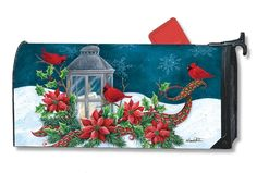 Cardinal Christmas Magnetic Mailbox Cover