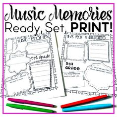 Celebrate your students' favorite music memories from your elementary music classes. These ready to print Music Memories pages are a great way to send your students off on a cheerful note and remember all of the lovely musical memories you made together.