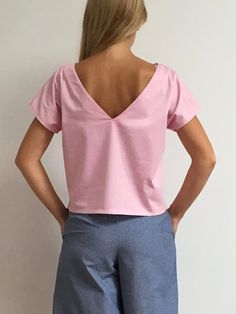 Women's wide cropped cotton minimal top by chubbyABC on Etsy