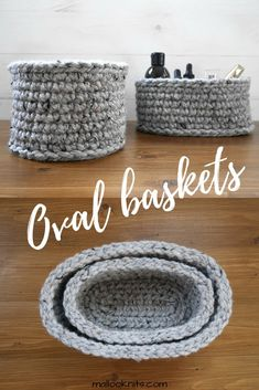 How to make your own oval baskets - free pattern Are you an organisation freak? If yes, you will love these oval crochet baskets. Make your own set with this extremely simple crochet pattern for oval baskets. Crochet Basket Tutorial, Crochet Basket Pattern, Knit Basket, Crochet Flower Patterns, Crochet Flowers, Crochet Baskets, Basket Weaving, Fabric Flowers, Modern Crochet Patterns