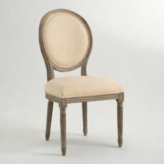 Natural Linen Paige Round Back Dining Chairs. World Market. Bathroom Vanity chair?