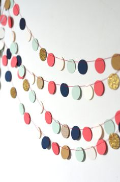 Navy Mint Gold Coral and Cream Confetti by thePathLessTraveled on Etsy.  Baby girl's nursery idea.