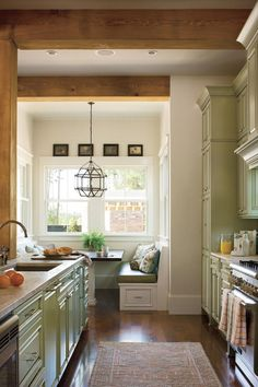 Find everything from built-in cutting boards to copper vent hoods in this collection of kitchen design ideas.