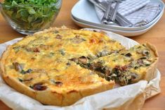 Quiche will always be a deliciously sophisticated feature at brunch, but it doesn't have to be so indulgent. This gluten-free vegan quiche recipe with Receta Quiche Bacon, Bacon Quiche, Quiche Recipes, Mushroom Tart, Mushroom Quiche, Organic Recipes, Vegan Recipes, Cooking Recipes, Egg Substitute In Baking