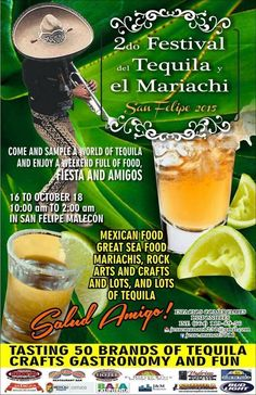 Seafood+Tequila+Mariachi= Perfect Combo! Come and sample a world of Tequila and enjoy a weekend full of food fiesta and amigos! Mexican food, great seafood and mariachi music at the 2nd. Tequila and Mariachi Festival in San Felipe! Mark your calendars, October 16-18, salud amigos!
