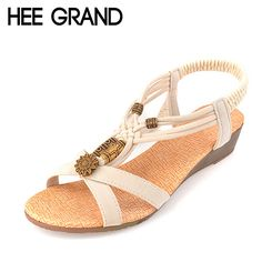 HEE GRAND 2017 New Summer Sandals Beading Low Heels PU Leather Women Gladiator Wedges Sandal Shoes Woman Size 36-40 XWZ591