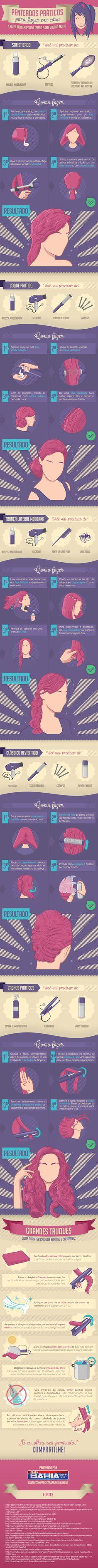 Infográfico –  Aprenda a fazer penteados práticos em casa