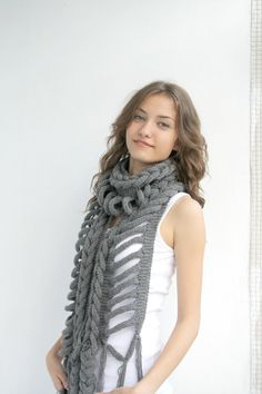Free SHIPPING Gray Wool  Scarf with Black  Button by denizgunes, $75.00