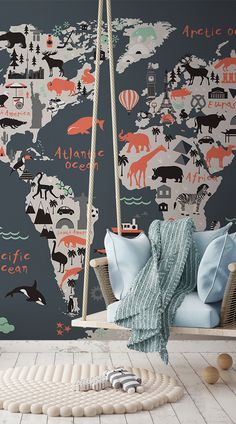 This fun and educational world map is perfect for your child's bedroom or playroom. Featuring popular landmarks and regional animals there is plenty to learn and engage with in this stylised wallpaper mural. #wallpaper #murals #wallmurals #interiordesign #design #home #homedecor #interiordecor #accentwall #inspiration #Ihavethisthingswithwalls #educationalwallpaper #kidsbedroom