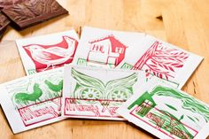 six cards for your christmas greeting. hand printed, made with linocut printing.