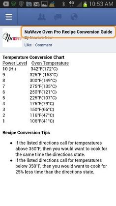 conversion chart for nuwave