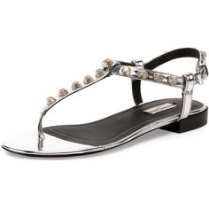 Balenciaga Studded Leather T-Strap Sandal (63210 ALL) ❤ liked on Polyvore featuring shoes, sandals, flat sandals, flat shoes, ankle strap thong sandals, thong sandals and ankle tie sandals