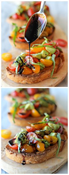 Avocado Bruschetta with Balsamic Reduction - With ripe avocado and juicy grape tomatoes, this is the perfect midday treat or party snack! With ripe avocado and juicy grape tomatoes, this is the perfect midday treat or party snack! Healthy Snacks, Healthy Recipes, Yummy Snacks, Sweet Recipes, Balsamic Reduction, Snacks Für Party, Tapas Party, I Love Food, Appetizer Recipes