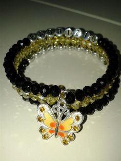 Bracelet Personalised black and yellow with butterfly