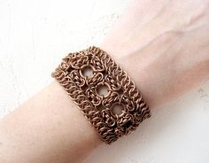 Knotted copper bracelet Cuff chainmail bracelet Lace by OllyBijou