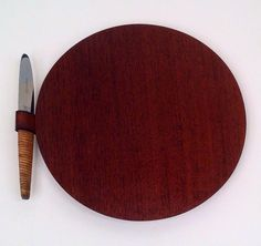 Carl Auböck | Rare mahogany cheese board with a cane-handled stainless steel knife | c. 1950s