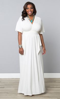Easy style with unique detailing is the name of the game with our plus size Indie Flair Maxi Dress. Kimono sleeves add a bit of drama, while the draping adds a slight peplum look. Explore other unique styles at www.kiyonna.com. #KiyonnaPlusYou #MadeintheUSA