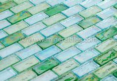 Mineral Tiles - Iridescent Glass Mosaic Tile Aqua Blend 1x2, $14.95 (http://www.mineraltiles.com/iridescent-glass-mosaic-tile-aqua-blend-1x2/)