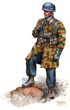Gefreiter of the Division Fallschirmjager, Kampgruppe Peiper, La Gleize - Stavelot, Ardennes December 1944 Luftwaffe, Paratrooper, Military Figures, Military Art, Military History, Ww2 Uniforms, German Uniforms, German Soldiers Ww2, German Army