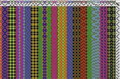 View weaving draft - Kids Demo Warp created by Sally Orgren. Find various weaving drafts designed by members of Weavolution. Weaving Patterns, Textile Patterns, Textiles, Inkle Weaving, Hand Weaving, Woven Rug, Woven Fabric, Swedish Weaving, Weaving Projects