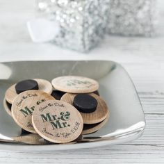 Personalized Wooden Wedding Magnets by Beau-coup